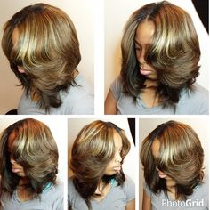 STYLIST FEATURE| Love this layered #quickweave bob✂️ done by #AtlantaStylist @hairartbydominique  Love this color and it looks so natural #VoiceOfHair