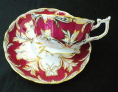 Royal Chelsea exquisite gold gilt maroon red tea cup and saucer art deco fancy China Cups And Saucers, China Tea Cups, Teapots And Cups, Cup And Saucer Set, Tea Cup Saucer, Antique Tea Sets, My Cup Of Tea, Violets, Vintage Tea
