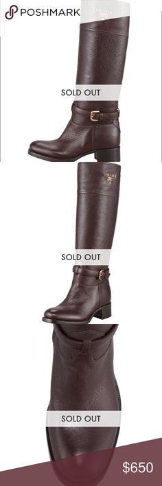 New Prada brown tall logo riding boots Brand new in original box with dust bag and all original packing. I accidentally bought the wrong size so my loss is your gain. Perfect condition and of course all my items are always authentic. They will go through Poshmark Conceirge service not only for authentication but for listing accuracy as well so you can buy with confidence. Prada Shoes Winter & Rain Boots