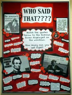 Library Displays: Who said that? Great Bulletin Board Ideas- Love this one!