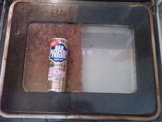 Remove baked on food from a glass over door with Bar Keepers Friend