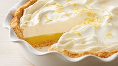 This must-try pie is like a perfect glass of lemonade—it strikes just the right balance between sweet and tart. (crushed sugar cookie crust, lemon curd filling and tangy cream cheese topping) Cream Cheese Topping, Soften Cream Cheese, Cream Pie, Cookie Pie, Cookie Crust, Orzo, Lemon Desserts, Spring Desserts, Easter Desserts
