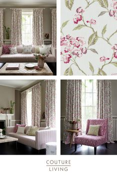 The Summerby collection is the essence of modern country chic. Seen here is Raspberry, Summerby is available in 6 sophisticated tones – adding a hint of summer to any room. Available as curtains or blinds, handmade in England by Couture Living. Floral Curtains, Floral Fabric, Modern Country, Country Chic, Purple Interior, Made To Measure Curtains, Curtains With Blinds, Curtain Fabric, Interior Inspiration