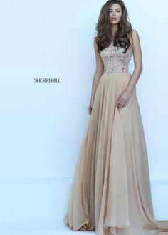 Sherri Hill 50305 Gold Fancy Beaded Strapless Chiffon Dress
