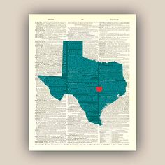Texas  State Map Art Print,  8x10 Print, customizable hearted city, dictionary book page map wall art, decorative arts, map state art on Etsy, $15.50