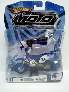 Amazon.com: Hot Wheels Blue and Black Moto #11 (Motorcycle with Rider Action Figure): Toys & Games