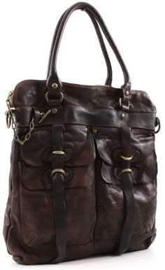 Campomaggi Lavata Tote Leather dark-brown 38 cm - C1245VL-1701 - Designer Bags Shop - wardow.com