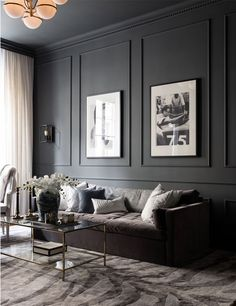 Despite a modest area of sqm, the designers were not afraid to use a rather dark color scheme as the basis for the design of this one-bedroom ✌Pufikhomes - source of home inspiration Dark Living Rooms, Home Living Room, Living Room Designs, Living Room Decor, Bedroom Decor, Bedroom Apartment, Black Living Room Furniture, Bedroom Door Design, Black Furniture