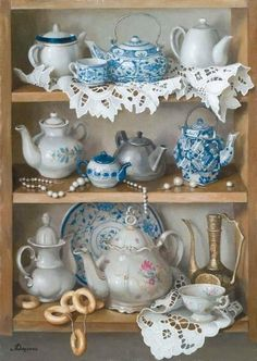 Pretty collection of teapots and teacups.
