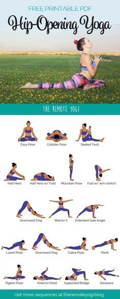 Yoga Sequence to Open the Hips Download this free printable PDF to practice this yoga flow at home #Yoga #HipOpeners