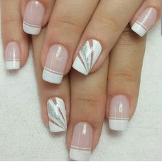 Blanco Elegant Nails, Stylish Nails, Square Nail Designs, Nail Art Designs, French Nails, Cute Nails, Pretty Nails, Gel Nagel Design, Gem Nails