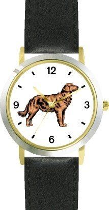 Golden Retriever Dog - WATCHBUDDY® DELUXE TWO-TONE THEME WATCH - Arabic Numbers - Black Leather Strap-Children's Size-Small ( Boy's Size & Girl's Size ) WatchBuddy. $49.95