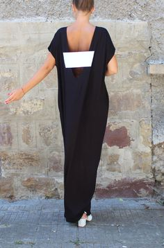 Black Caftan Dress Backless dress Maxi by cherryblossomsdress