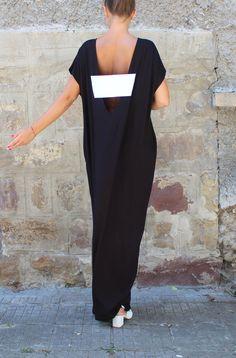 Caftan Black Dress, Backless dress, Maxi dress, Black dress, Oversized Dress, Sleeveless dress , Open back dress