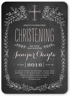 Chalkboard Christening Girl 5x7 Stationery Card by Stacy Claire Boyd
