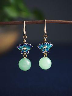 Handmade natural vert jade Round Gemstone Leverback Drop Dangle Earrings