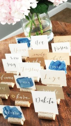 Mismatched place card table with Champagne Gold Glitter Place Card Holders | Kara's Vineyard Wedding