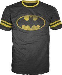 Amazon.com: Mens DC Comics Batman Football-style T-shirt (Black): Clothing