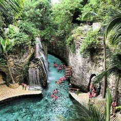 Swimming in the underground rivers of Xcaret in Mexico