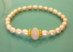 Wisdom & Heart Stack Solo - Pearl with Rose Quartz with 24k Vermeil Beads $50.00