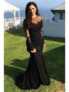 black prom dresses,lace evening dresses, mermaid prom dresses #SIMIBridal #promdresses