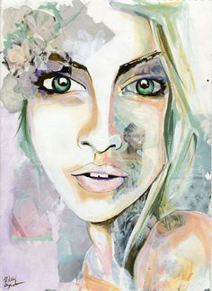 Vientiane by Rikki Sneddon Watercolor Portrait Female Fashion Painting by Sneddon Studios. Follow@ www.facebook.com/sneddonstudios Available@ www.sneddonstudios.etsy.com