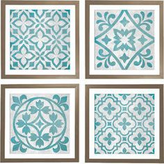 turquoise and grey wall art