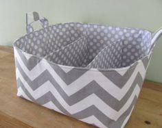 NEW Fabric Diaper Caddy - Fabric organizer storage bin basket - Perfect for your nursery - Grey Zig Zag Baby Storage, Storage Caddy, Nursery Storage, Fabric Storage, Craft Storage, Storage Organization, Fabric Organizer, Storage Ideas, Diaper Caddy