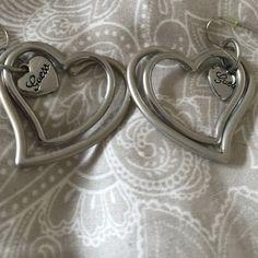 Guess silver double heart earrings Guess silver color double heart earrings Guess Jewelry Earrings