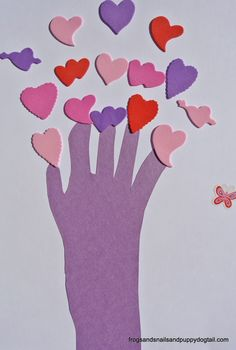 Heart Handprint Tree Craft for Kids by FSPDT ~ valentine' day craft for kids ~ keepsake art
