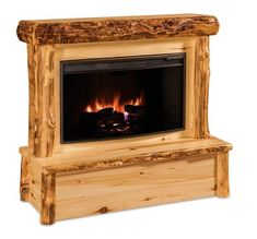 Amish Rustic Log Fireplace With Mantel without Drawers Plug in this rustic beauty and enjoy the warmth. Made with premium quality hardwoods. Amish made. #fireplace