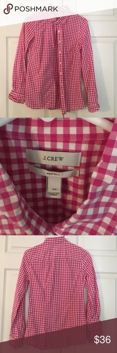 Pink gingham J. Crew button down Pink gingham J. Crew button down. It looks red in the pics but it's really pink. Great for under a sweater or vest this fall. Add a pop of color to your wardrobe. J. Crew Tops Button Down Shirts
