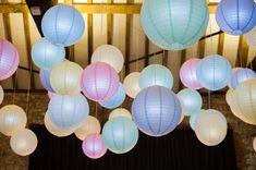 Pastel Hanging Paper Lanterns Decor | A disney princess wedding | Barn Reception | pastel colour scheme| Images by Source Images | http://www.rockmywedding.co.uk/sam-ben/