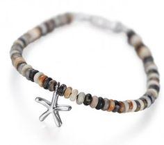 Reef Jewellery - Small Silver Starfish Pendant on Picasso Jasper Bead Bracelet - Scuba Diving