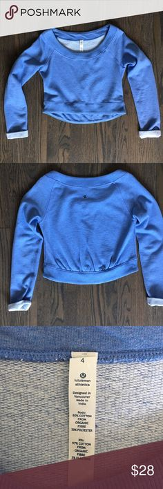 Lululemon Long Sleeve Sweater Lululemon cropped sweater with pleating detail on back. lululemon athletica Tops Sweatshirts & Hoodies