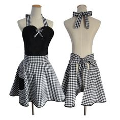 A unique and stylish Sweetheart Style Apron with a Black Gingham Pattern. Impress your dinner party guests by serving up a storm wearing this beautifully crafted apron. Material: Cotton Canvas Size: Adults One Size Fits All (70cm x 70cm)