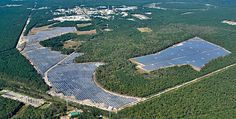 The 200-acre Long Island Solar Farm (LISF) located at the east end of Brookhaven Lab (Photo courtesy of BNL).