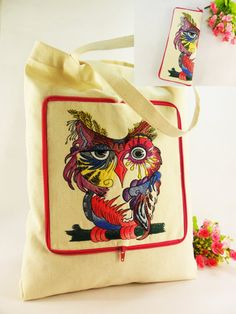 OWL Canvas tote bag Fabric embroidered bag Shopping bag by FediyS