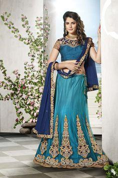 Blue Net Wedding Chaniya Choli