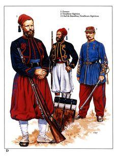 1:Zouave.2:Tirailleur Algerien.3:Chef de Battaillon,Tirailleurs Algeriens.