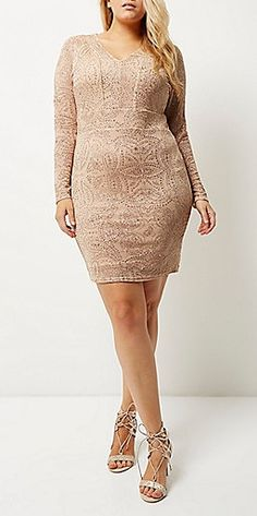 Plus Size Glittery Bodycon Dress