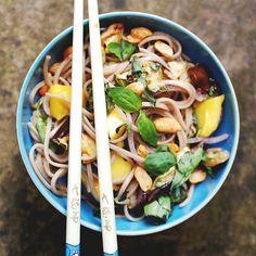 Ottolenghi's Soba Noodles with Aubergine & Mango by ohpapillon #Soba_Noodles #Aubergine #Mango