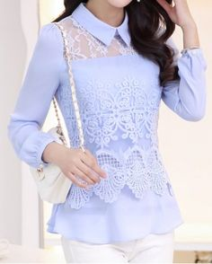Ladylike Flat Collar Candy Color Lace Splicing Chiffon Long Sleeve Blouse For Women