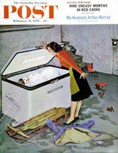 Saturday Evening Post - 1959-02-21: Frosty in the Freezer (John Falter)
