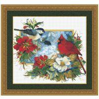 Chickadee and Cardinal Holidays Counted Cross Stitch Kit
