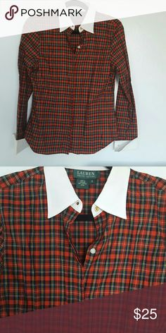 Plaid shirt - size small - Ralph lauren Red plaid white color and sleeve cuffs - size small - button front Ralph lauren. Excellent condition- worn once. Ralph Lauren Tops Button Down Shirts