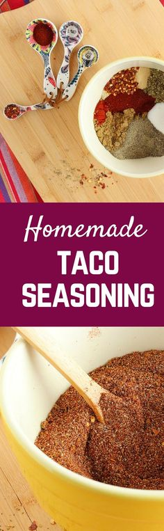 Taco Seasoning Recipe - Ditch the Packet for GOOD! - with VIDEO - Rachel Cooks® Homemade taco seasoning with no MSG or additives. natural and delicious. Make extra to keep on hand! Easy Taco Seasoning Recipe, Gluten Free Taco Seasoning, Taco Seasoning Packet, Seasoning Mixes, Homemade Spices, Homemade Seasonings, Mexican Dishes, Mexican Food Recipes, Mexican Spice