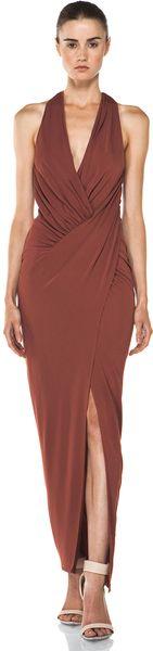 Haute Hippie Asymmetrical Draped Gown  in Brown (henna) - Lyst