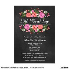 Adult Birthday Invitation, floral chalkboard style Card.Elegant Chalkboard Bridal Shower Invitation Templates. Classy bridal shower invitations that you can order online. Customized for the new bride to be. Elegant bridal shower invitation that feature a nice chalkboard background, great design and typography. Click image to customize. Feel free to like or repin.