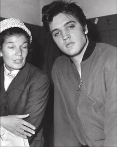 Elvis is pictured with Canadian journalist June Rose Callwood, 1957 Toronto
